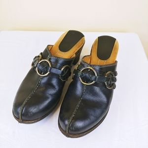 Frye Black Leather Clogs with Silver Ring Detail